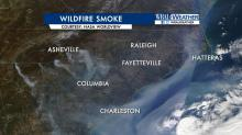 Here's a look at the wildfire smoke today. Notice the plume over the coastal areas? #wral #ncwx