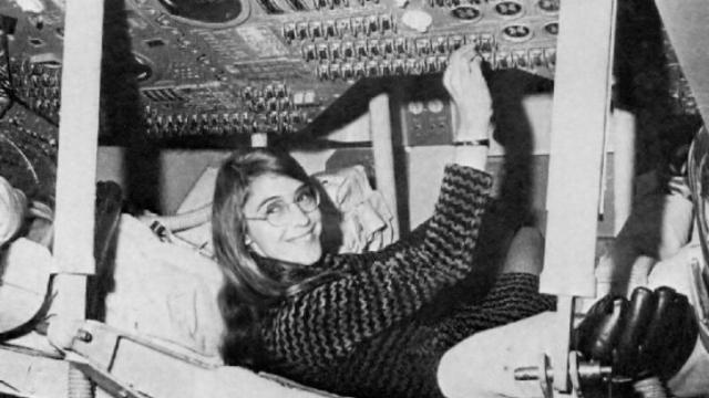 Margaret Hamilton in an Apollo Command Module simulator (Credit: NASA)