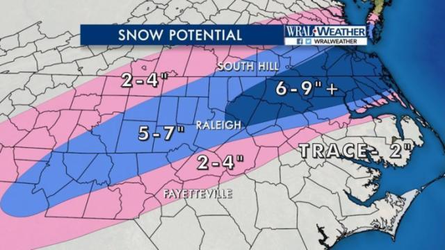 Potential snowfall, Jan. 6, 2017