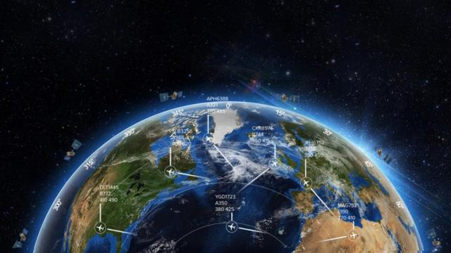 Aircraft positions tracked by satellite help eliminate gaps over oceans and other areas lacking ground-based receivers (Credit: Aireon LLC)