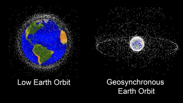 "NASA""s Orbital Debris Program Office tracks about 13,000 bits of debris larger than 10cm from Low Earth Orbit out to Geosynchronous Orbit over 22,000 miles in altitude. (Source: NASA/JSC)"