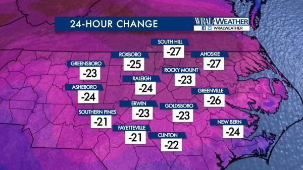 Temperature change from Sunday, Feb. 12, to Monday, Feb. 13, 2017