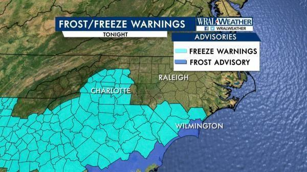 Frost/freeze warnings, March 3, 2017
