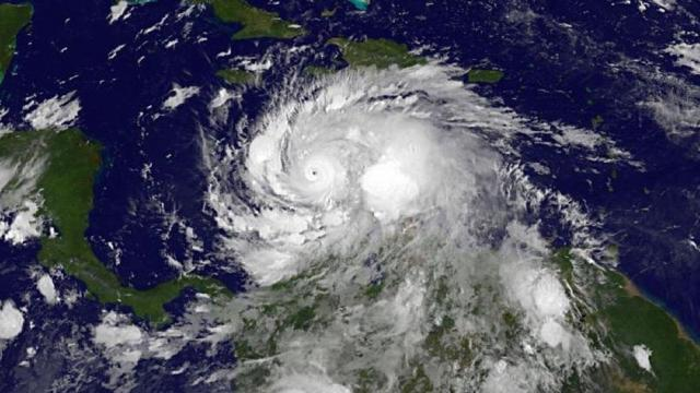 NOAA's GOES-East satellite on Oct. 2 at 4:45 a.m. EDT showing Hurricane Matthew over the south-central Caribbean Sea as a Category 4 hurricane. (Credit: NOAA)