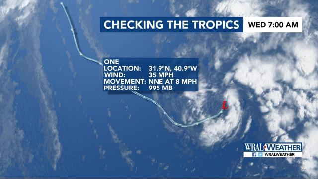 The very first tropical system of 2017 formed this morning.  It's technically Subtropical Depression One.  That means it has characteristics of a tropical system and a regular low.   It's likely to be absorbed into another low tomorrow without having any impact on land.  It's currently off the coast of Africa.
