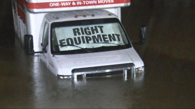 Rain floods portions of Capital Boulevard