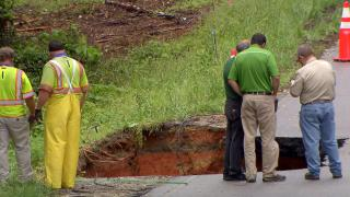 Johnston County road collapses after heavy rainfall