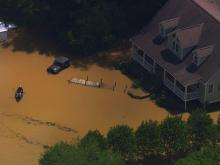 Sky 5 surveys floodwaters in Wake County