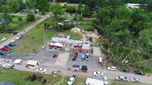 Drone 5 flies over Autryville after tornado
