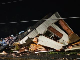 Storms cause mobile home to flip in Sampson County