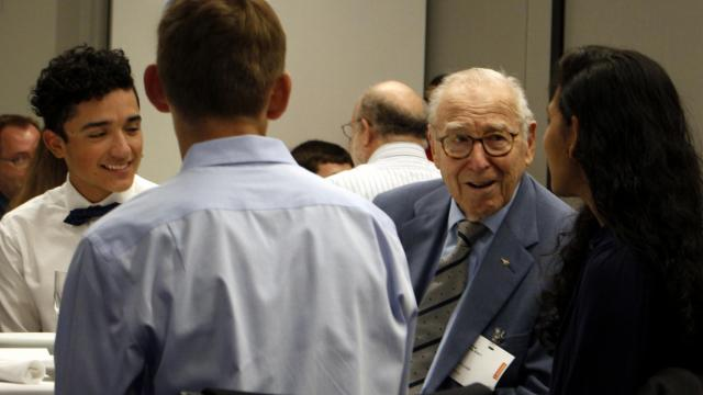 Jim Lovell discusses his experiences as a NASA astronaut over lunch with students in RTP