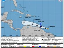 Potential Tropical Cyclone Two Track Graphic