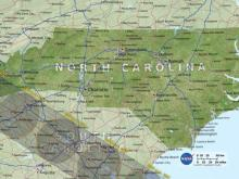 Path of the 2017 solar eclipse relative to North Carolina.