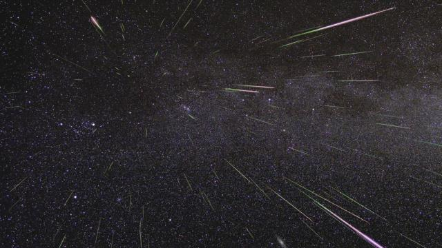 Outburst of Perseid meteors lights up the sky in August 2009 in this time-lapse image (Credit: NASA/JPL)