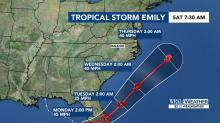 IMAGE: Landfall in Fla., Tropical Storm Emily could be felt in NC later this week