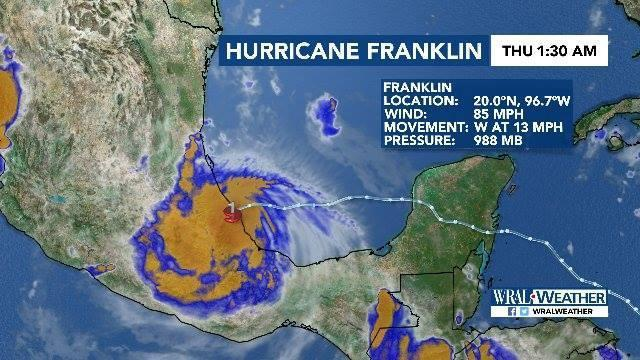 At around 1 AM, Hurricane Franklin made landfall along the coast of Mexico as a category 1 hurricane...