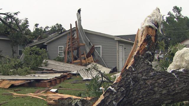 Storms that moved through the Triangle on Wednesday evening didn't last long, but left significant damage behind in Johnston County.