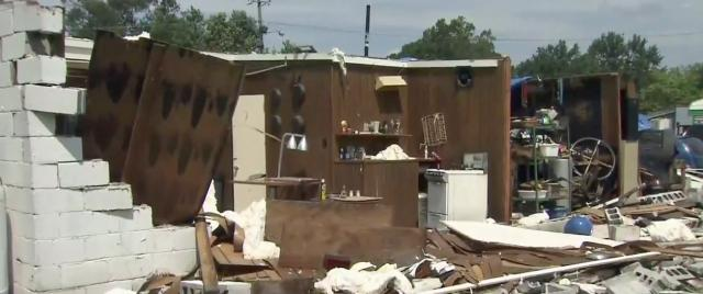 Residents cleaning up after brief, strong storms rip through Smithfield