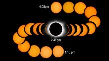 •The nearly 3-hour total eclipse captured at 10-minute intervals near the intersection of the path of totality and I-95 in South Carolina