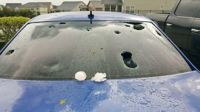 Hail breaks windshields