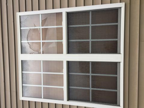 Hail cracks window
