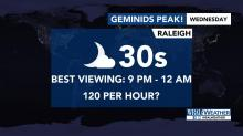 IMAGES: Clear skies offer great view of Geminid meteor shower Wednesday, Thursday