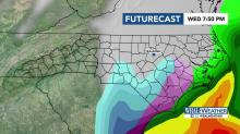 IMAGES: Snowfall: WRAL Futurecast hour-by-hour approach