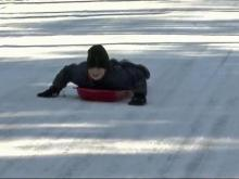 Kids spend snow day sledding in Raleigh