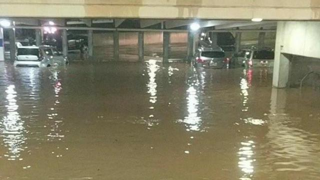 Flooding at Crabtree Valley Mall