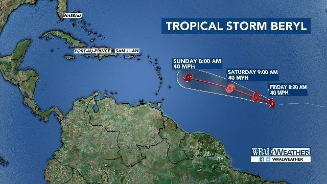 tropical storm beryl forms in atlantic but no threat to us expected