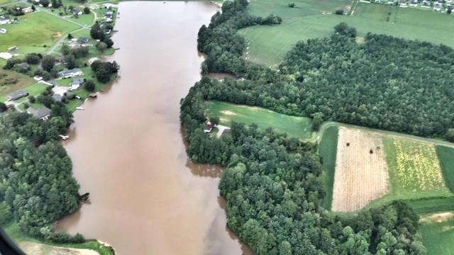 An aerial tour of damage from Hurricane Florence shows flooding along the Neuse River on Sept. 16, 2018.