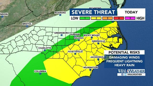 Severe weather alert in place for Triangle, eastern part of NC