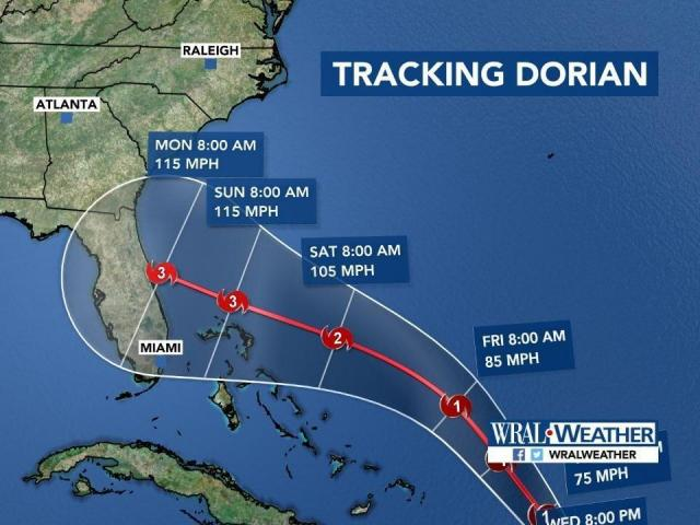 The latest update from the National Hurricane Center now has Dorian as a MAJOR hurricane making landfall along the FL coast. Elizabeth has the very latest on WRAL at noon. @WRALWeather