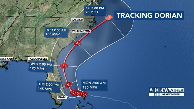 Hurricane Dorian 5 p.m. Sunday update