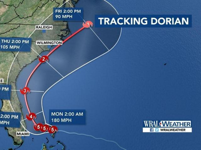 A possible path that Hurricane Dorian could take.<br/>Web Editor: Alfred Charles