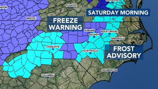 Frost advisory, freeze warning for Saturday morning