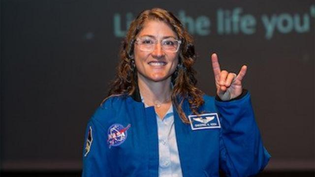 NASA astronaut Christina Koch set the record for longest continuous stay in space by a women on Saturday (Image courtesy: NCSU Alumni Association)