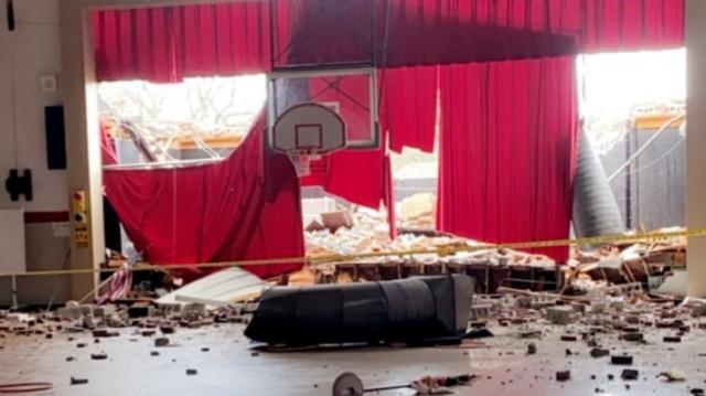 Interior damage at Union Intermediate Middle School in Clinton