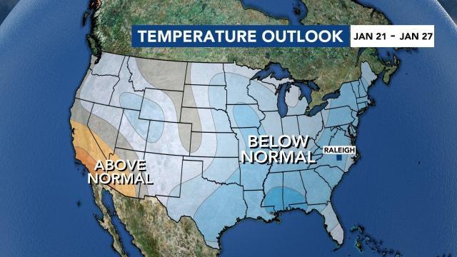 Temperature outlook Jan. 21-27