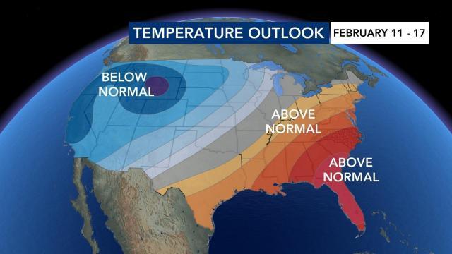 Temperature outlook Feb. 11-17