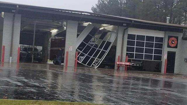 Storm damage at Bunn Fire Department