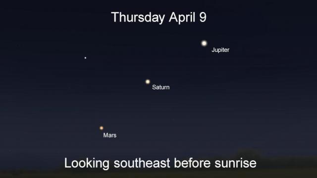 On April 9, Mars, Saturn and Jupiter line up before dawn