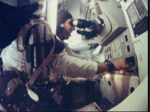 Jim Lovell using the sextant during the Apollo 8 mission
