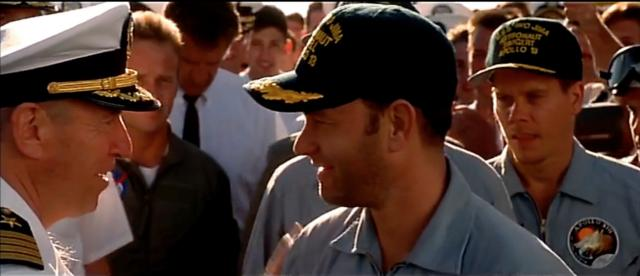Jim Lovell's uncredited cameo appearance in Apollo 13 (1995) as the Captain of USS Iwo Jima