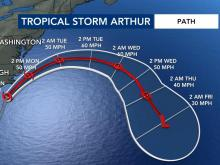 Tropical Storm Arthur's latest path