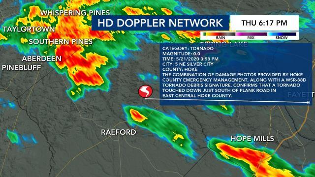 Tornado confirmed in Hoke County on May 21, 2020