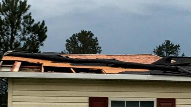 Roof torn off home in Raeford County