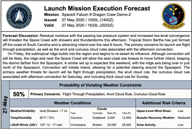 Launch Weather forecast for May 27 (USAF)<br/>Reporter: Tony Rice