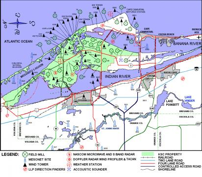 Cape Canaeral field mill map