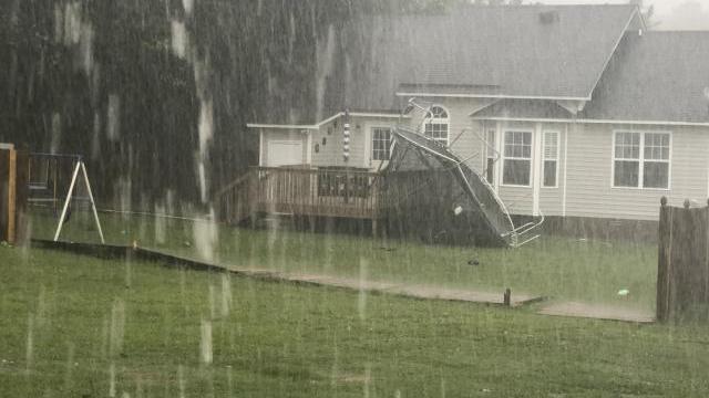 Heavy rain, high winds in Wendell